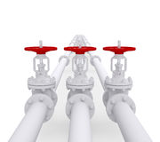 Three valves on the pipeline Royalty Free Stock Photography
