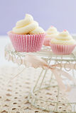 Three vanilla cupcakes Stock Images