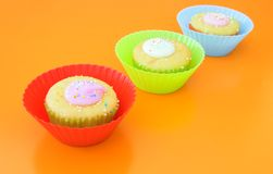 Three vanilla muffins Stock Photography