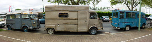 Three vans Citroen H Van (HY 72). Royalty Free Stock Photography