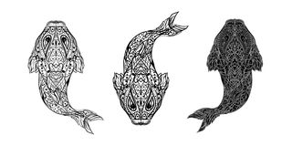 Three variants of black and white linear fish for a tattoo or ba. Black and white fish for printing on postcards, stickers, posters, for use as a background or Royalty Free Stock Image