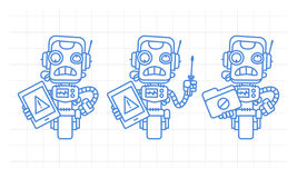 Three variants robot character holding tablet screwdriver folder Royalty Free Stock Photo