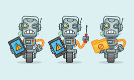 Three variants robot character holding tablet screwdriver folder Royalty Free Stock Image