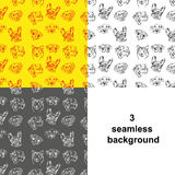 Three variants seamless background depicting dogs Stock Image