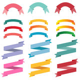 Three variations of colorful ribbons banners. Stock Photos