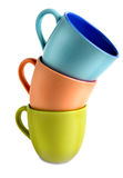 Three varicoloured cups Royalty Free Stock Image
