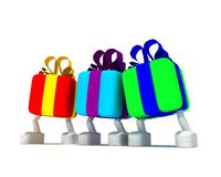 Three varicoloured gifts. Cost on white background Royalty Free Stock Photography