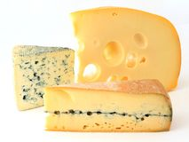 Three varieties of french cheese Stock Image