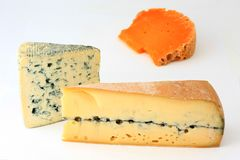 Three varieties of french cheese Royalty Free Stock Photos