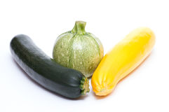Three various courgettes Stock Images