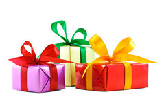 Three various gift wrapped presents Stock Image
