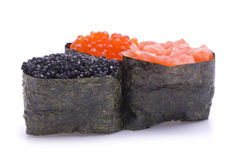 Three Various Gunkan Maki. Isolated on white Royalty Free Stock Image