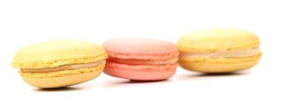 Three various macaron cakes. Close up. Royalty Free Stock Image