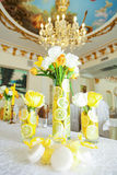 Three vase with yellow roses Stock Photos