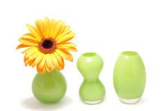 Three vases. Tree green flower vases isolated on white Royalty Free Stock Photography
