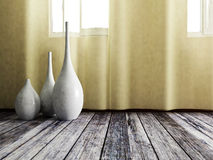 Three vases on the floor Royalty Free Stock Image