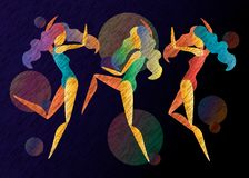 Three vector abstract bright color dancing girls stock illustration