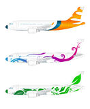 Three vector airplanes Stock Images
