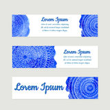 Three vector banner templates with watercolor background. Mandalas theme Stock Photos