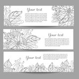 Three vector banners with beautiful monochrome floral pattern in doodle style. Royalty Free Stock Images