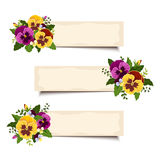Three vector banners with pansy flowers. Eps-10. Set of three vector web banners with yellow and purple pansy flowers Royalty Free Stock Photography