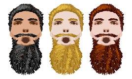 Three Vector Bearded Men Faces Stock Photos