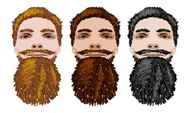 Three Vector Bearded Men Faces Stock Images