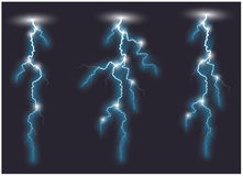 Three Vector blue oblique lightning lines. Vector blue oblique lightning lines. Vector illustration Royalty Free Stock Images