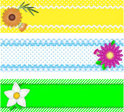 Three Vector Borders With Flowers and Copy Space. Eps10. Three borders with copy space, flowers, stripes, gingham and dots in green, blue, yellow, white while vector illustration