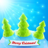 Three vector Christmas trees in polygonal style Royalty Free Stock Image