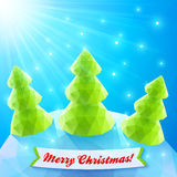 Three vector Christmas trees in polygonal style Royalty Free Stock Photo
