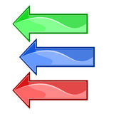 Three vector colored arrows Stock Images