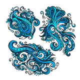 Three vector decorative flowers. Three vector decorative hand drawn blue flowers Stock Photography