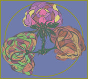 Three vector flower on purple background. Fragment of painted abstract flower color fantasy vegetation ornament Stock Images