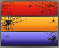 Three vector Halloween banners with spider and spiderweb Stock Image