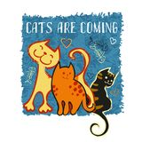 Three vector hand drawn funny cats. Design template for T-shirt, postcard or funny type. Three vector hand drawn funny cats and inspiration Cats are coming Vector Illustration