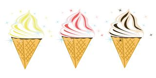 Three vector  ice cream Royalty Free Stock Photography