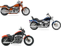 Three vector illustrations of motorcycle Stock Photo