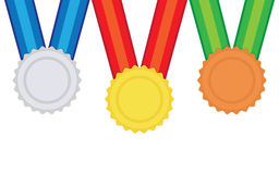 Three vector medals gold, silver and bronze Stock Photography