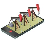 Three vector oil extraction pumps in mobile phone in isometric perspective. Oil well industry production, oilfield equipment in communication technology Stock Photography