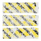 Three vector old worn, tattered, scratch rectangular banners of yellow black stripes.  Stock Photos