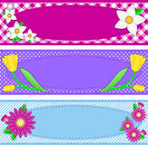 Three Vector Oval Borders With Flowers and Copy Sp. Three borders with oval copy space, flowers, stripes, gingham and dots in pink, purple, blue, yellow, white royalty free illustration