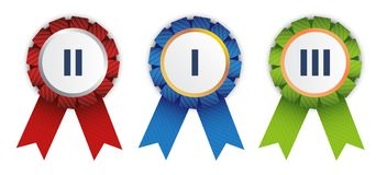 Ribbon badges. Three vector ribbon badges for competition winners Royalty Free Stock Photo