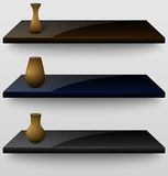Three vector shelves with vases Royalty Free Stock Photography