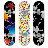 Three vector skateboard colorful designs Royalty Free Stock Image