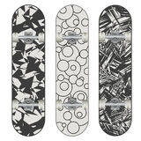 Three vector skateboard colorful designs Stock Photos