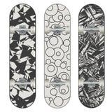 Three vector skateboard colorful designs Stock Photos