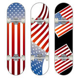 Three vector skateboard colorful designs Stock Image