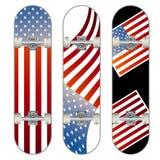 Three vector skateboard colorful designs Stock Image