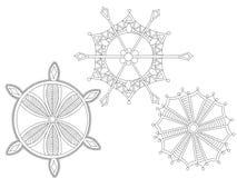 Three vector of snowflakes white background Royalty Free Stock Photos